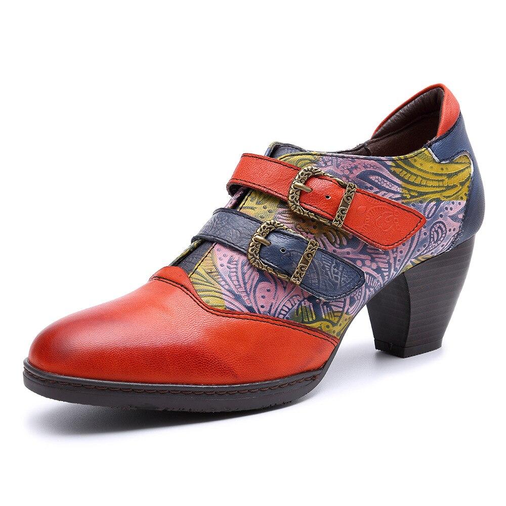Johnature 다채로운 버클 스트랩 빈티지 2019 새로운 정품 가죽 여성 봄 가을 숙 녀 신발 여자 펌프-에서여성용 펌프부터 신발 의  그룹 1