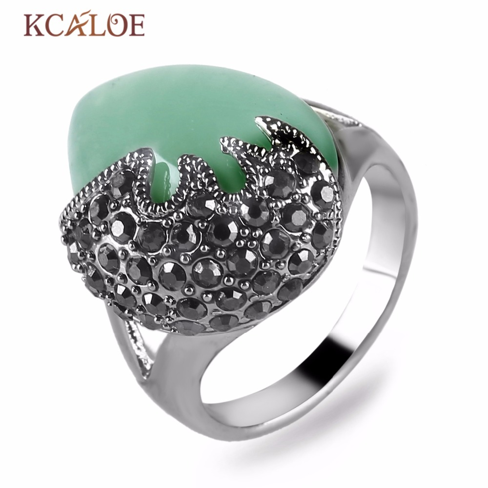 KCALOE Waterdrop Green Stone Ring Natural Wedding Band Vintage Antique Silver Color Rhinestone Engagement Rings For Women