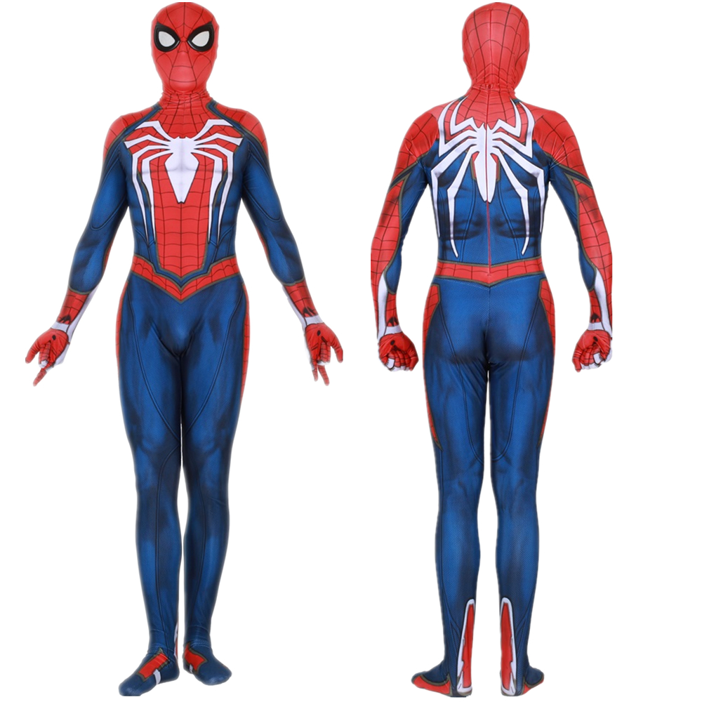 Insomniac Spiele Spiderman Cosplay Kostüm Zentai Spinne Mann Superhero Body Anzug Overalls