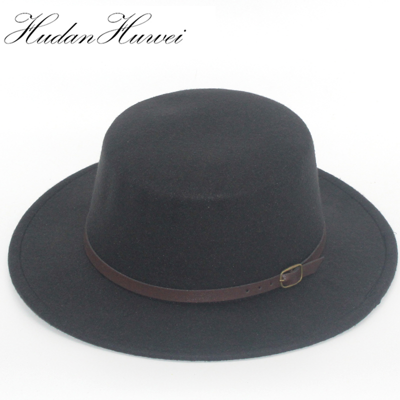 75f4267c5f4ec Retro Men Women flat top Wool Felt Fedora Hats with Belt buckle Decorated  ladies trilby Boater