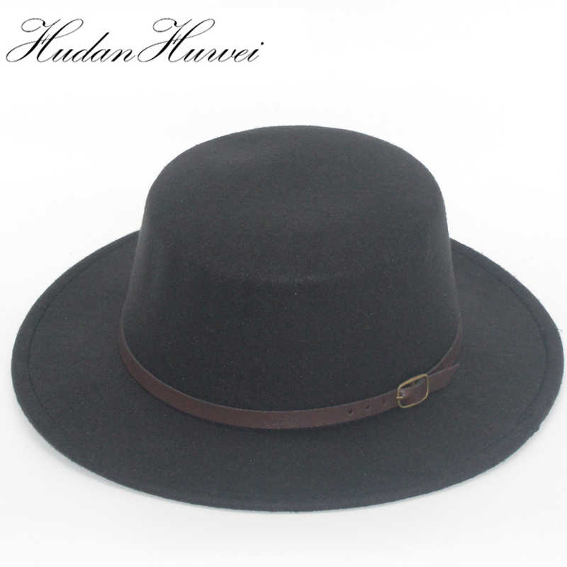 742c6ab532c Retro Men Women flat top Wool Felt Fedora Hats with Belt buckle Decorated  ladies trilby Boater