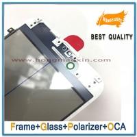Each 5pcs 4 in 1 LCD Outer Lens Glass +Frame Bezel+For Hitachi OCA Film+ polarizer film For iPhone 7 6 6S 6G plus Pre Assembled