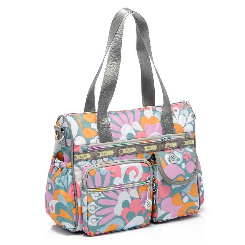 Stylish Printing Casual Hand Bag 2016 New Fashion Women Practical Durable Nylon Bag Ladies Fashion Contrast