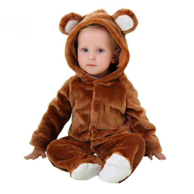Roupas de Bebê primavera Outono Pijama de Flanela Cosplay Urso Roupas de Bebê Menino Dos Desenhos Animados de Animais Traje Macacão Macacão de Bebê Menina