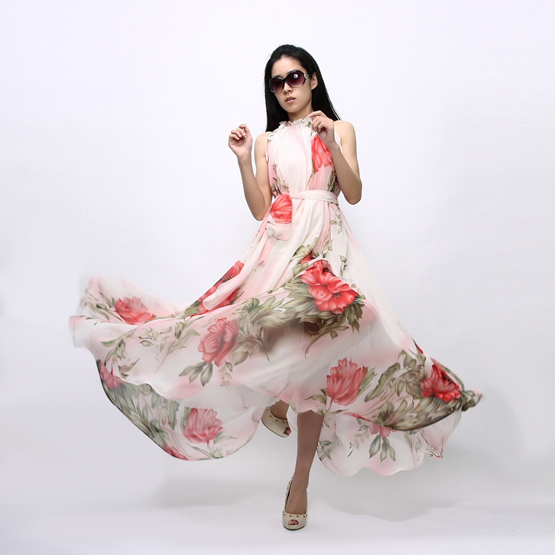 7243836ddae 2019 Plus Size Summer Dress Women Sexy Boho Maxi Dress Casual Sundress  Halter Sleeveless Floral Chiffon