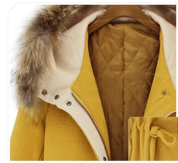 Épaississent Hiver Femmes Réel Femme Manteau Automne Veste Longs jaune Fourrure De Capuchon Col Pardessus Manteaux Nouvelles 2018 Beige Outwear Laine À Chaud A4q6t