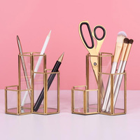 Nordic Sytle Gold Pen Holder Brass + Glass Geometric Modular Desk Storage Makeup Box Stationary Accessory Organizer