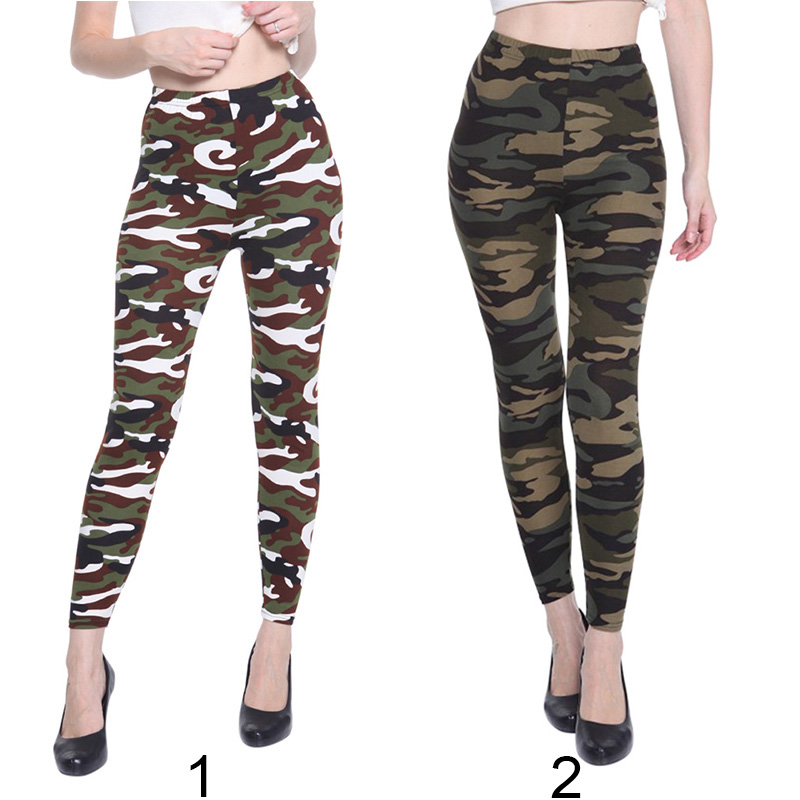 Fashion Spring Autumn Women Elastic High Waist Camouflage Printing Trousers Slimming Casual Ankle-Length Pants FS99