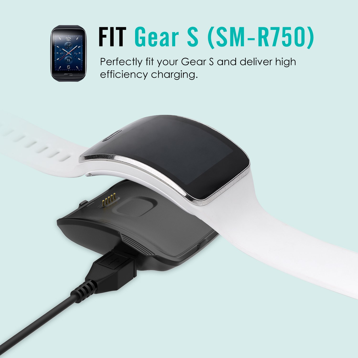 <font><b>Gear</b></font> <font><b>S</b></font> (SM-R750) Charger, Replacement <font><b>Charging</b></font> <font><b>Dock</b></font> Cradle Charger for <font><b>Samsung</b></font> <font><b>Gear</b></font> <font><b>S</b></font> Smart Watch SM-R750, with Micro USB Cable image