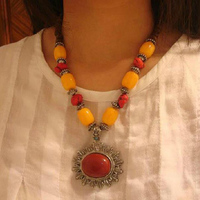 Nepal Tibet Beeswax Color Stone Alloy Medal Jewelry Wholesale Ethnic Necklace F 92