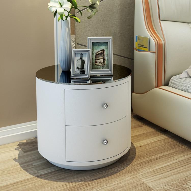 tables de chevet rondes modernes à 2 tiroirs pour meubles de lit