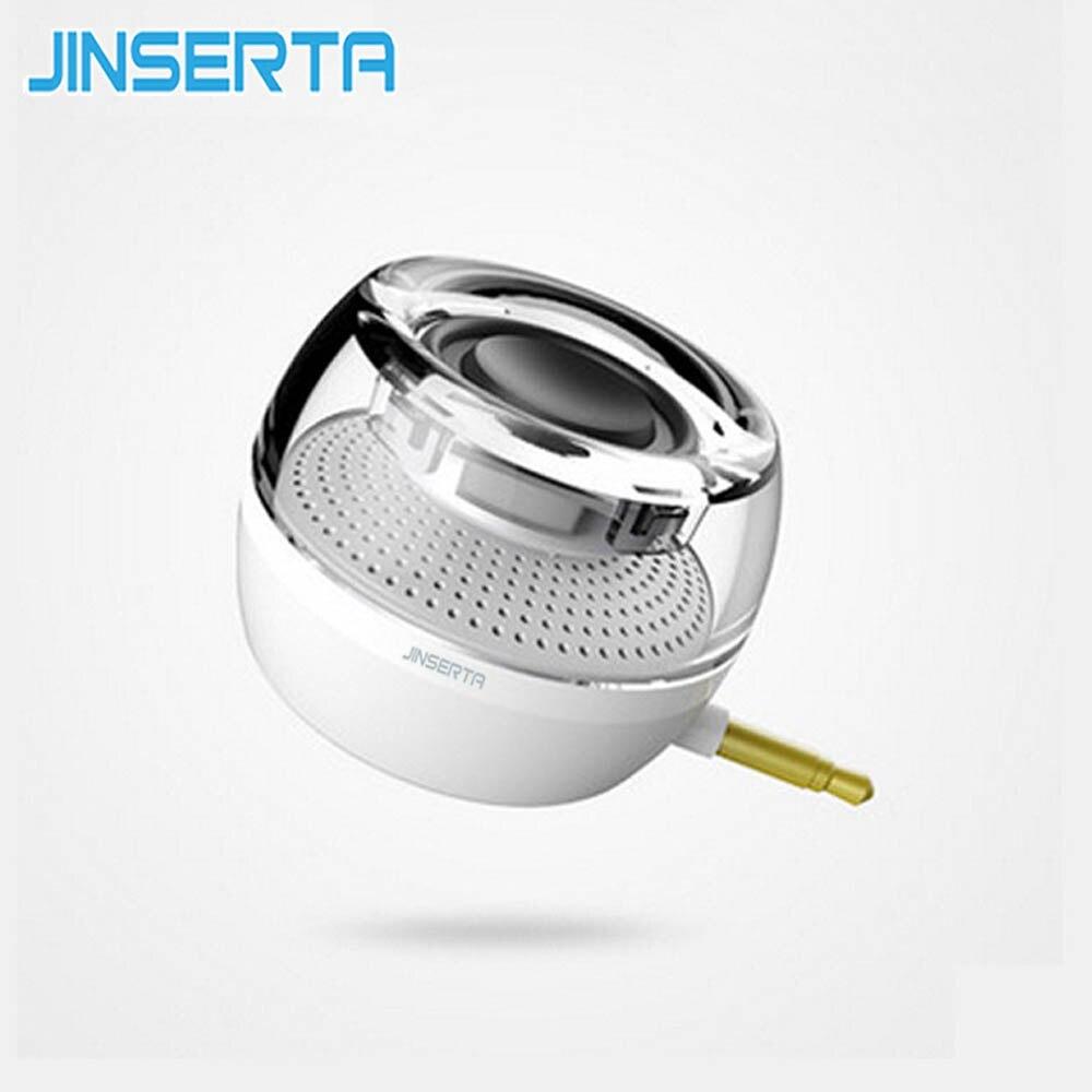 JINSERTA Portable F10 HIFI 3D Surround 3.5mm Aux Audio Mini Wireless Round Shape Powerful Crystal Speaker Altavoz for Phone PC