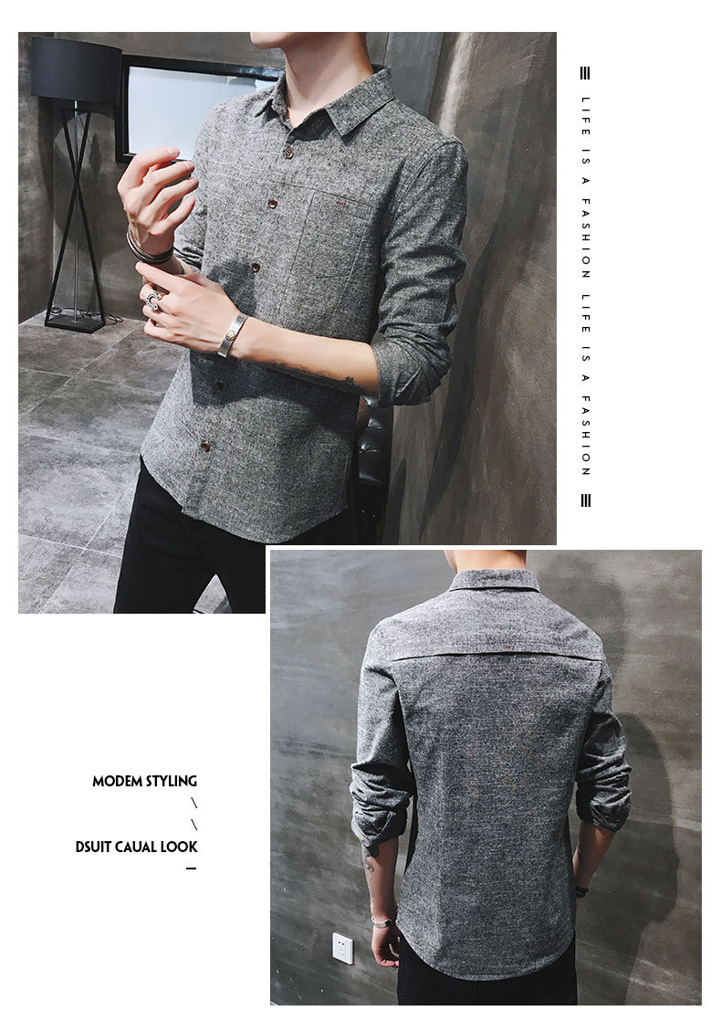 2019 spring new men's shirt Korean version of the self-cultivation youth casual business cotton shirt tide men's boutique shirt 34