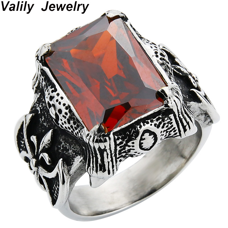 Valily Jewelry Silver Black Vintage Gothic Big Square Red/Black CZ Ring Stainless Steel Punk Dragon Claw Retro Band Ring for Men xiagao cool punk real 316l stainless steel red ring men s big red crystal red stones finger rings for man gothic casting ring
