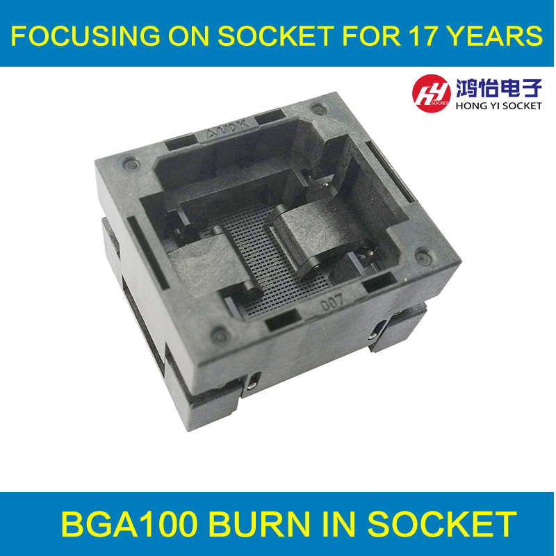 BGA100 OPEN TOP burn in socket pitch 0.8mm IC size 9*9mm BGA100(9*9)-0.8-TP01NT BGA100 VFBGA100 burn in programmer socket bga80 open top burn in socket pitch 0 8mm ic size 7 9mm bga80 7 9 0 8 tp01nt bga80 vfbga80 burn in programmer socket