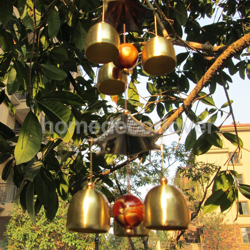 Chinese Wind Chime 2-Layer Roof 6 Bells Lucky Feng Shui Yard Garden Decor