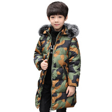 2017 Boys Autumn Winter Warm Long Coat Kids Fur Hooded Casual Jackets Kid Snow Wear Down Cotton-Padded Camouflage Winter Clothes