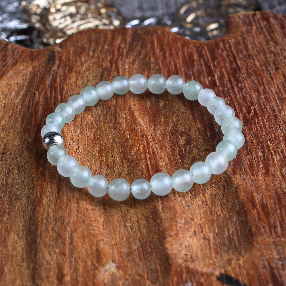 FFWFF Handmade Adjustable Design Natural Stone Crystal Rings for Women girls Green aventurine wave Energy ring set bague ringen