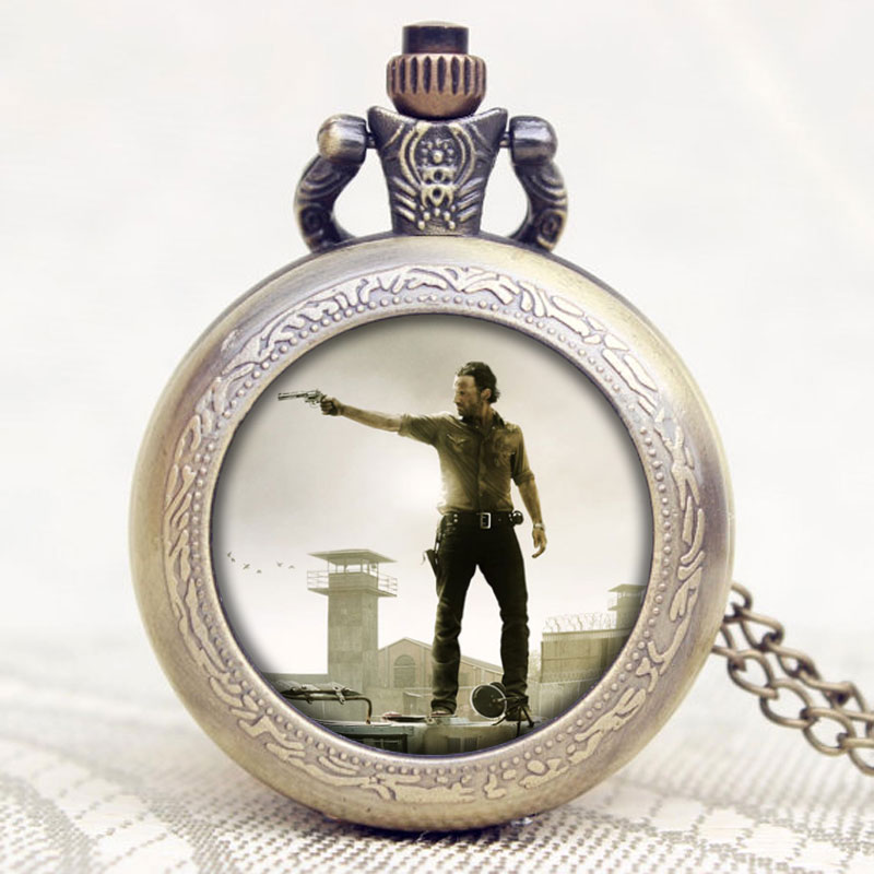 Hot American Drama The Walking Dead Theme Hero Rick Deisgn Glass Dome Quartz Pocket Watch With Chain Necklace
