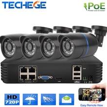 Techege 4ch 1080 P POE NVR 4 шт. 720 P 1.0 мегапиксельная крытый пуля ip-камера Видеонаблюдения Комплект дома безопасности CCTV система