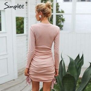 Image 3 - Simplee drawstring rosa malha camisola vestido sexy bodycon outono inverno vestido 2018 elegante vestido feminino jumper pullover