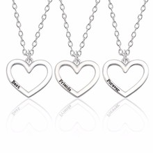 Fashion 3pcs Best Friends Forever Necklace Pendant Jewelry BFF Alloy Silver Heart For Women Gifts