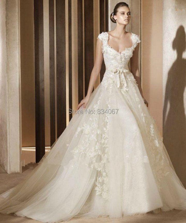 Royal Wedding Ball Gown: 2016 Fashion Design Square Neckline Pincess Ball Gown