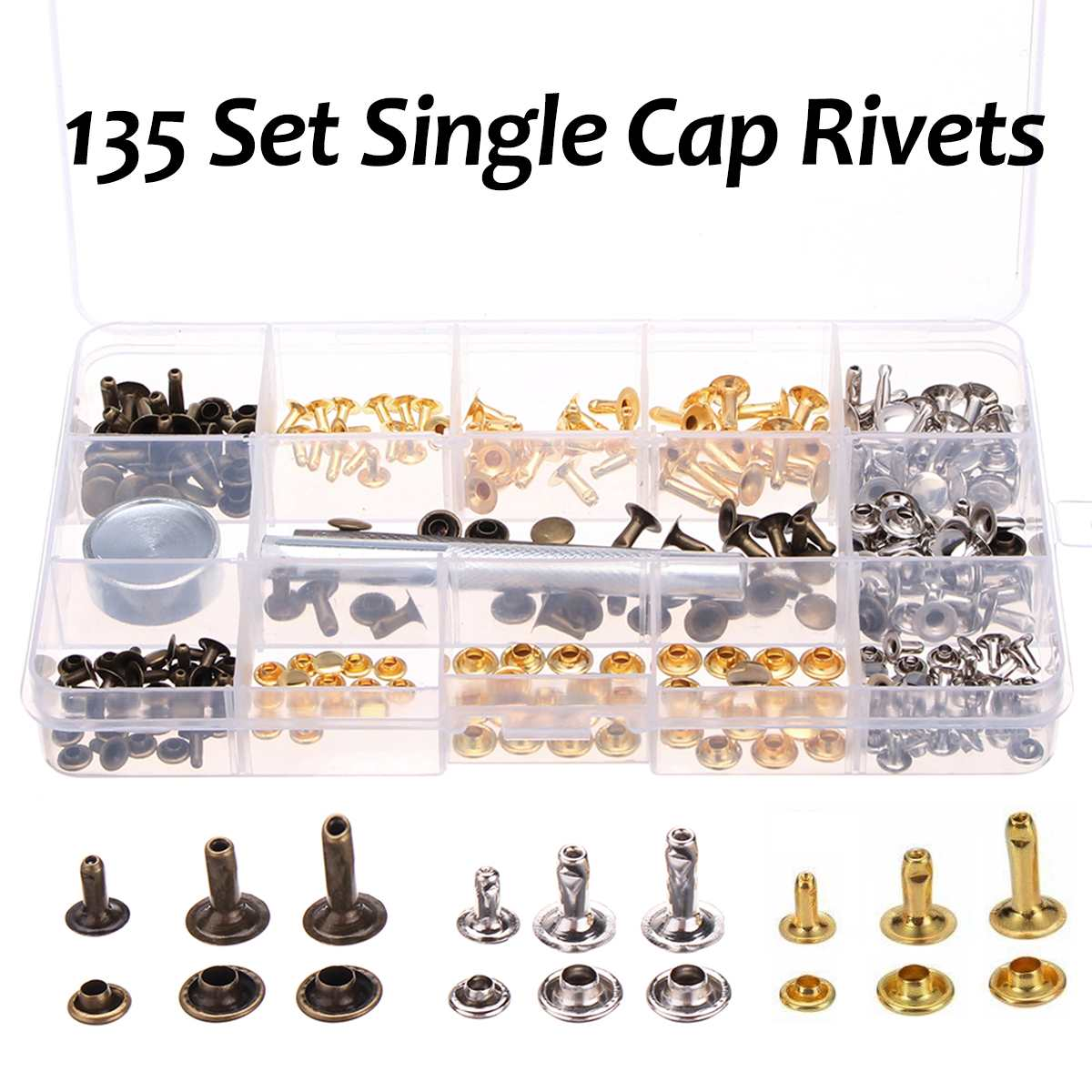138 Set Single Cap Rivet Tubular Metal Studs W/ Fixing Tool For Leather Craft Repairing Decor Leather Rivets 3 Colors 3 Sizes