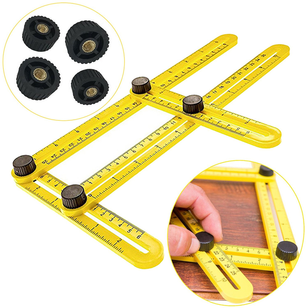 Angleizer Template Tool Multi Angle Measuring Ruler - Tool Angle Izer Layout - Angles & Shapes Finder With Metal Screw Threads #3