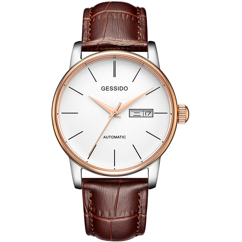 Mens Business Watches Top Brand Luxury Waterproof Leather Strap Watch Men Mechanical Automatic Wristwatch Relogio Masculino 2018 ailang sapphire automatic mechanical watch mens top brand luxury waterproof brown genuine leather watch relogio masculine
