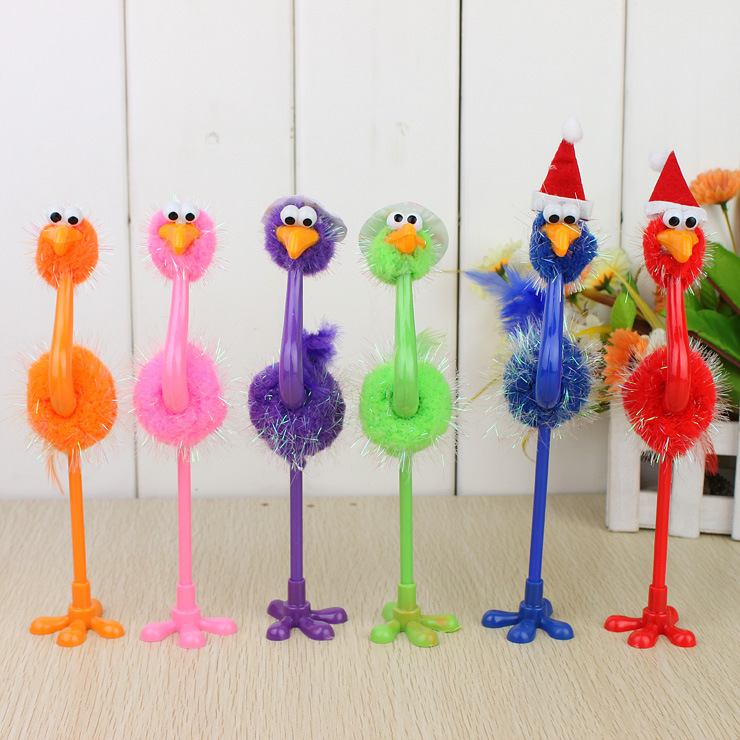 12 pcs/lot cute ostrich bird ballpoint ball point pens funny novelty roller pen creative student stationery christmas gift