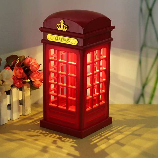 Touch Panel Retro Telephone Booth Usb Led Table Light For Bedroom Lamp Battery Night