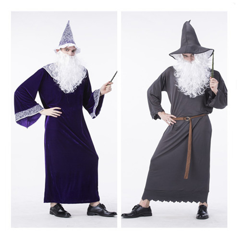 Halloween Cosplay Costume Hobbit Gandalf Wizards Dance Party Costumes Costumes Magician Robes For Men And Women Apply