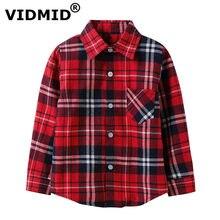 49516d25 VIDMID Boys shirts for Girls British Plaid child Shirts kids school Blouse  red tops clothes Kids