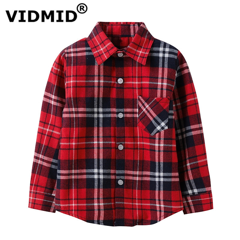 VIDMID Boys shirts for Girls British Plaid child Shirts kids school Blouse red tops clothes Kids Children plaid 12 years 6010 01 drawstring front ruffle plaid blouse