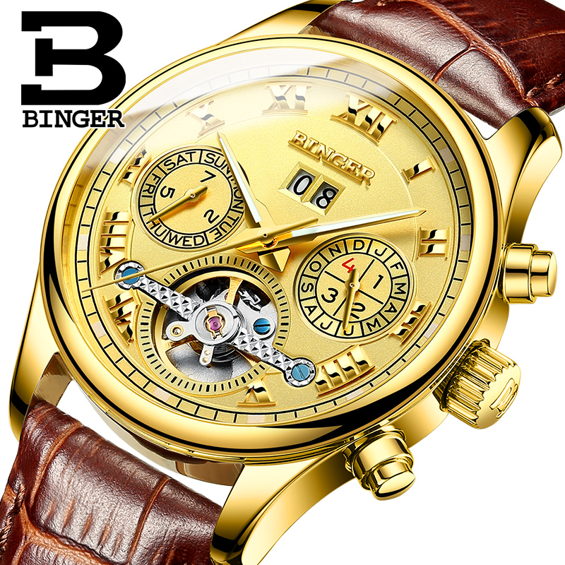 BINGER colouring Gold Hollow Automatic Mechanical Watches Men Luxury Brand Leather Strap Casual Vintage Skeleton Watch Clock luxury brand sport clock roman numerals dial men mechanical hand wind watch skeleton vintage watches leather strap 2017 new