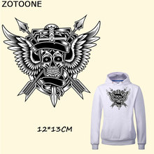 ZOTOONE Cool Skull Wing Patches for Clothing DIY Heat Transfer Sticker Jeans Pyrography Press Appliqued Decoration Iron on Patch