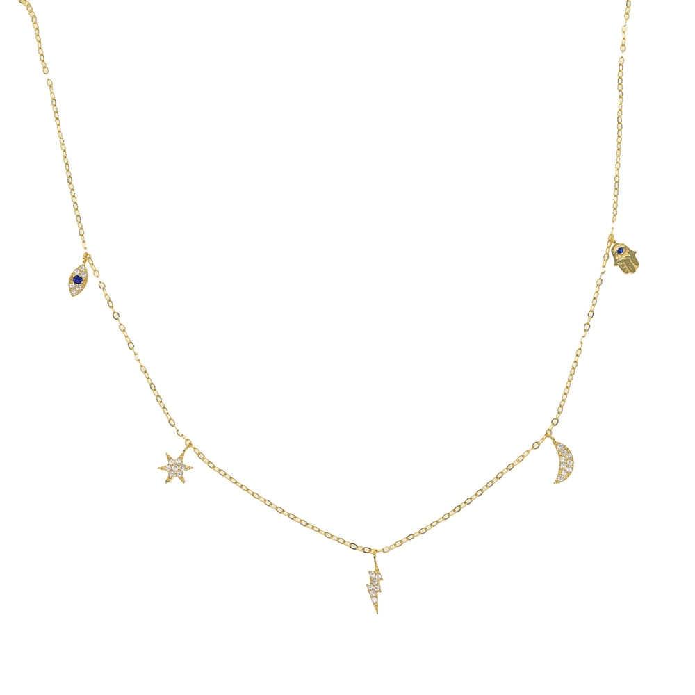 Позолоченное тонкое маленькое ювелирное изделие, талисманы на руку Хамса, луна, звезда, молния, ожерелье для девочек из стерлингового серебра 925 пробы