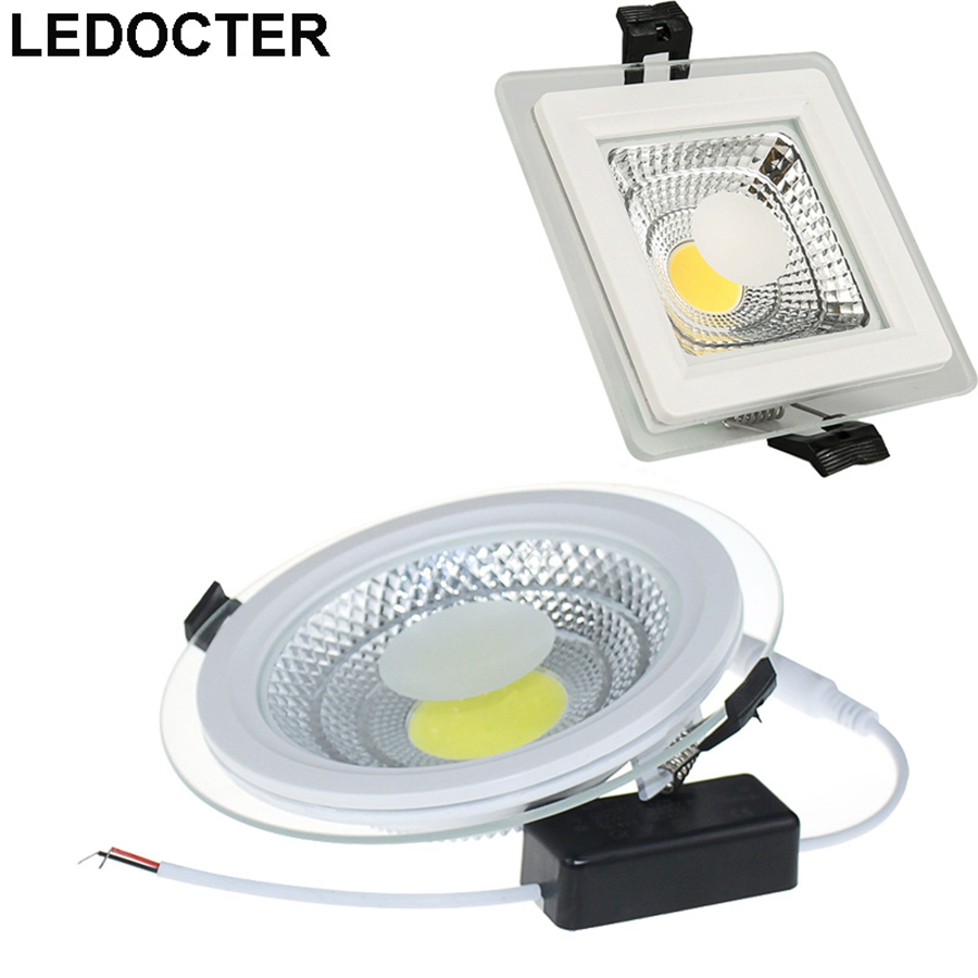 Round /Square CREE 9W 15W 20W Glass COB LED Downlights +Power Supply Fixture Recessed Ceiling Down Lights Home Lamps SAA UL CE