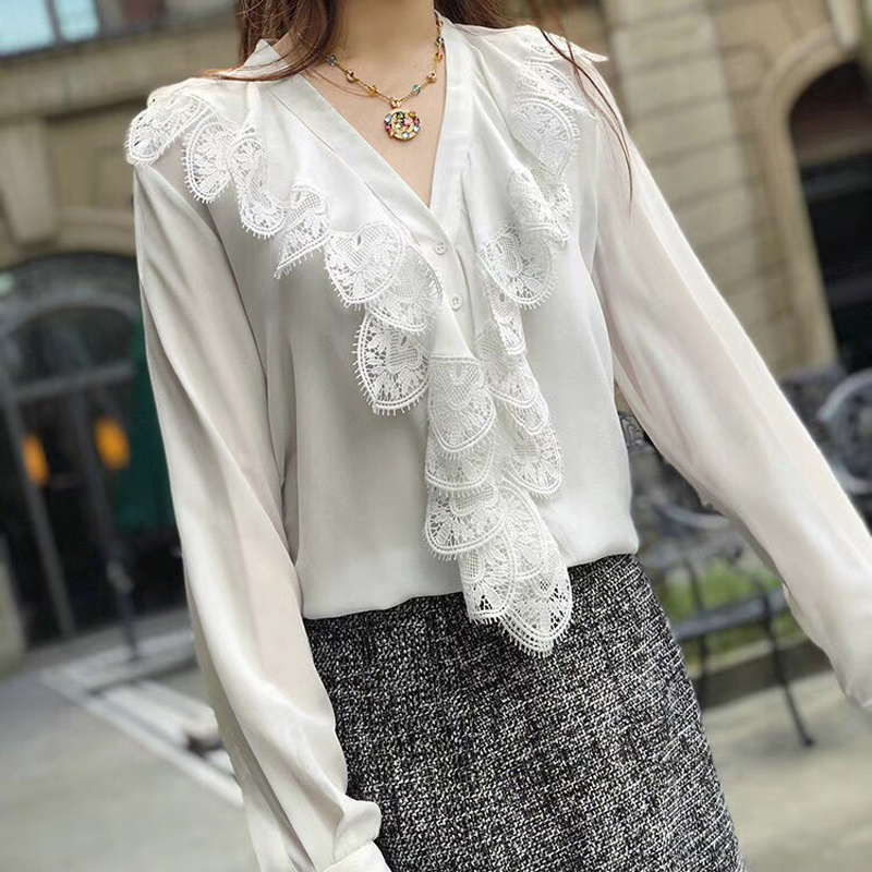 100 шелк Блузки для малышек для Для женщин высокое качество Для женщин Летняя блузка Для женщин блузка Рубашки для мальчиков элегантный обор