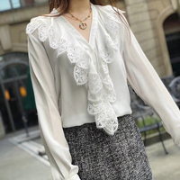 100 Silk Blouses for Women High Quality Women Summer Blouse Women Blouse Shirts Elegant Ruffles