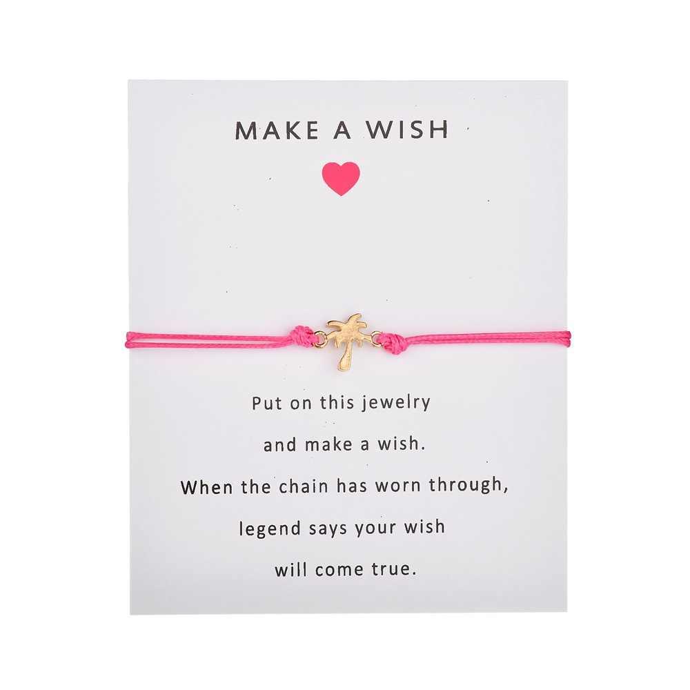 12 stylów zrobić życzenie regulowana bransoletka karty papieru ręcznie łańcuch liny proste bransoletki muszle moda biżuteria dla kobiet prezenty