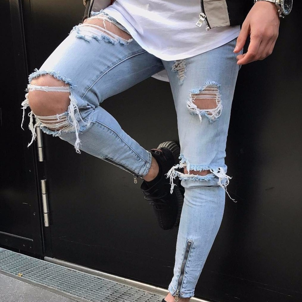 Aggressive Top Quality 2019 Fashion Men Casual Ripped Hole High Street Beggar Zipper Leg Little Cowboy Big Hole Jeans Elastic Pants Jeans