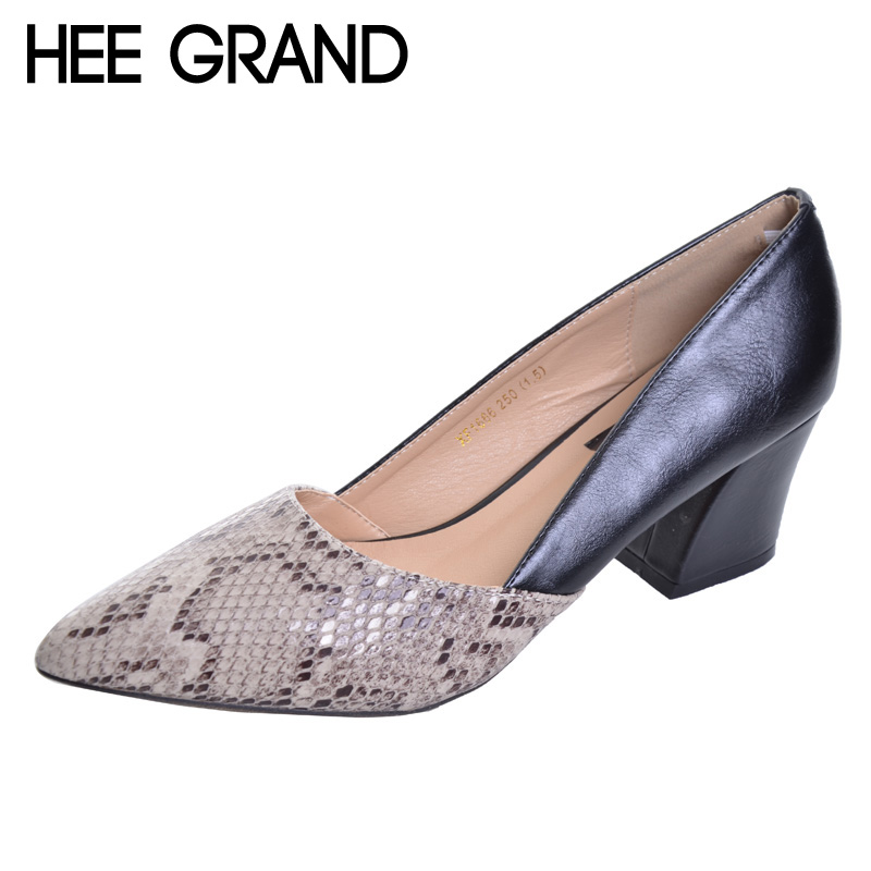 HEE GRAND Serpentine High Heels Sexy Patchwork Elegant Pumps Low Heels Platform Women Casual Shoes Slip On Shoes Woman WXG213 nayiduyun women casual shoes low top platform wedge high heels boots round toe slip on pumps punk chic shoes black white sneaker