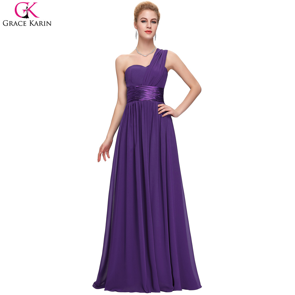 Black dress bridesmaid - Grace Karin One Shoulder Royal Blue Purple Red Black White Chiffon Long Bridesmaid Dresses 2017 Cheap