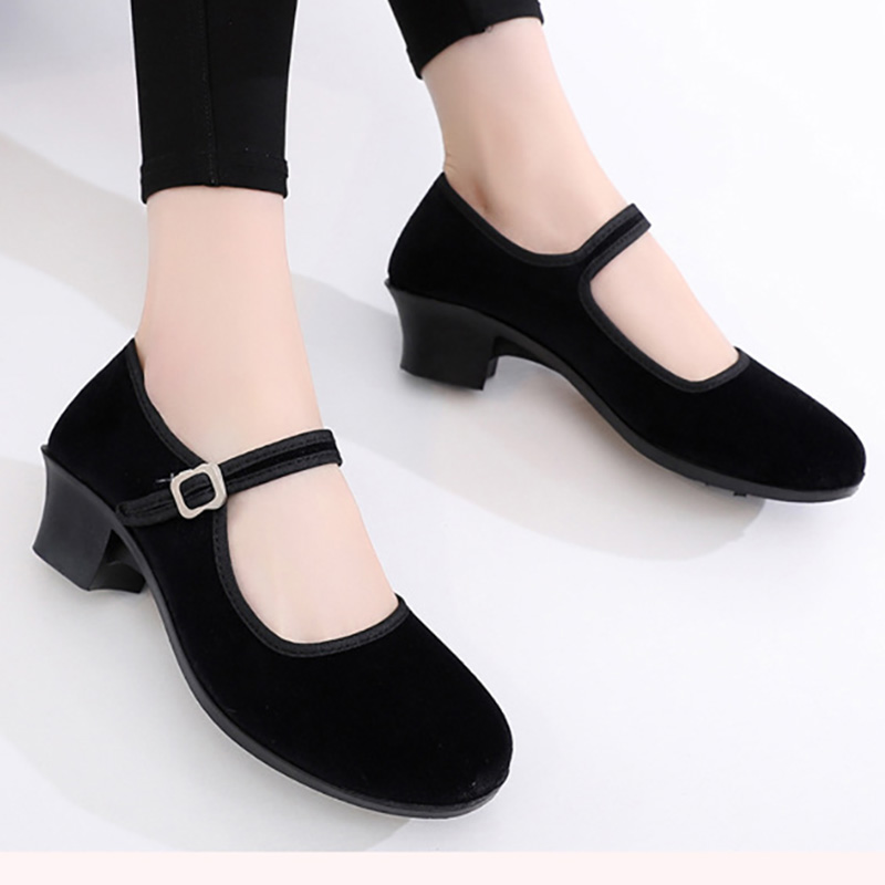 EU34-41 Black Flannel Outdoor Resistant Folk Ballet Yoga Teacher Ballroom Dance Sneakers Women Girls