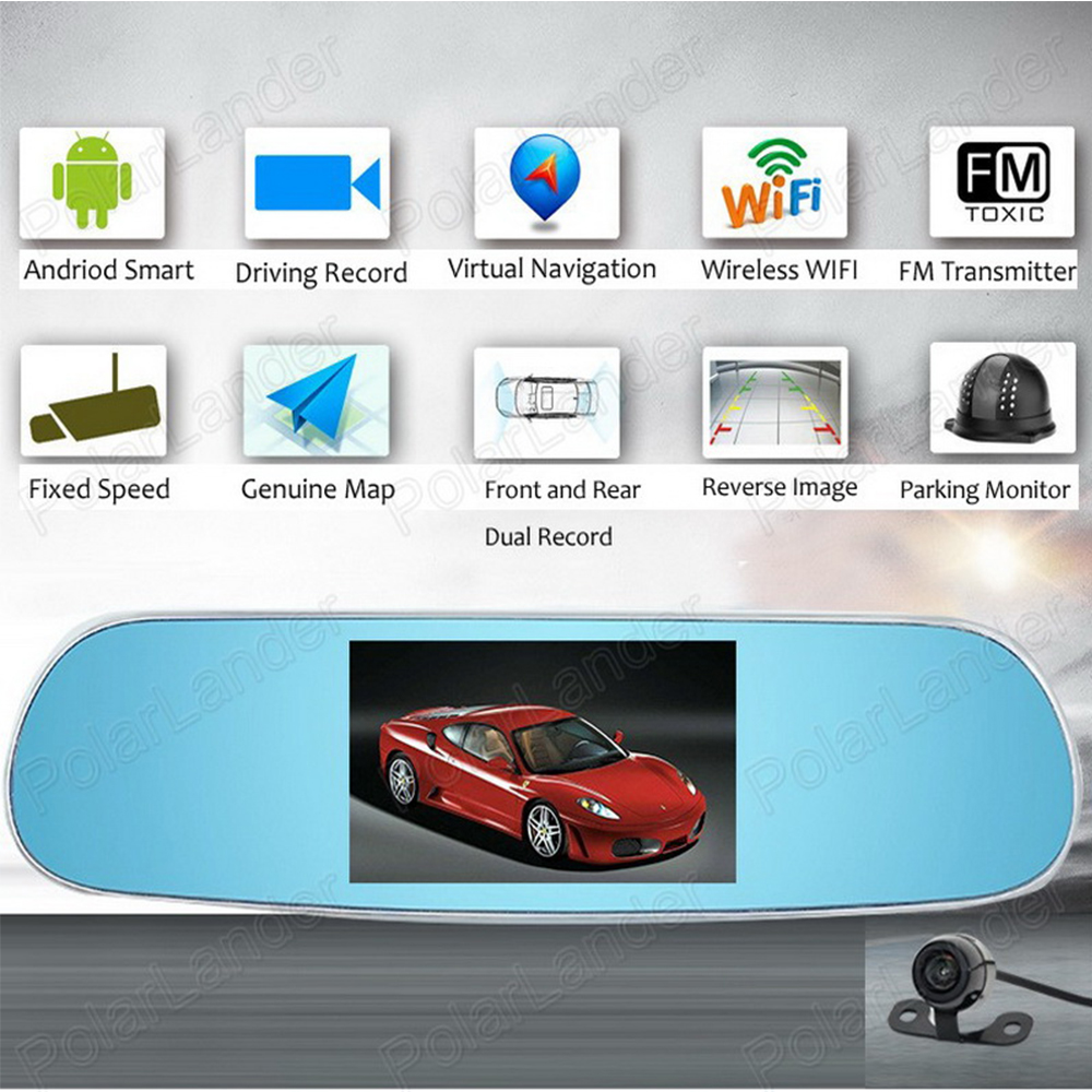 Touch Android HD Dash Cam Dual Camera DVR GPS WiFi FM Parking Rearview Mirror 5 inch