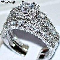 Choucong Винтаж обещание кольца 925 пробы серебро Принцесса cut AAAAA cz Обручение обручальное кольцо кольца для Для женщин украшения подарок