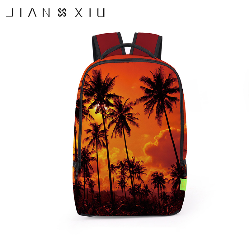 JIANXIU 3D Coconut Trees Printing School Bags Backpacks European Cartoon Kids Children Students Schoolbags Mochila Bookbag