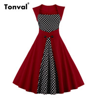 Tonval Tunic High Waist Dots Dress Women Vintage Sexy Retro Party Dresses 50s Style Sleeveless Plus